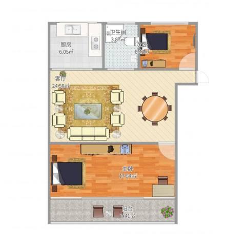 莲溪六村2室1厅1卫1厨89.00㎡户型图