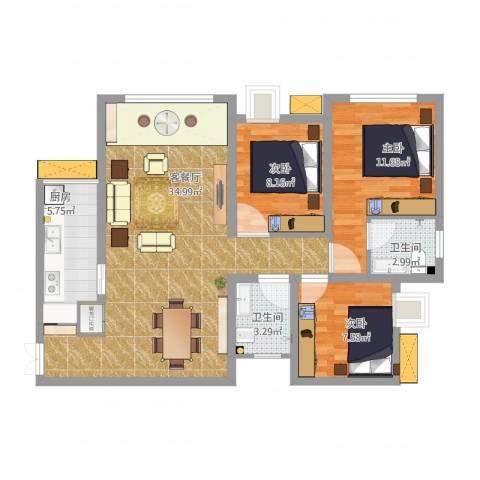 兆甲合阳新城3室1厅2卫1厨107.00㎡户型图