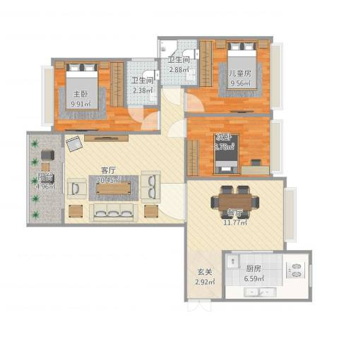 四会大隆湾3室2厅2卫1厨109.00㎡户型图