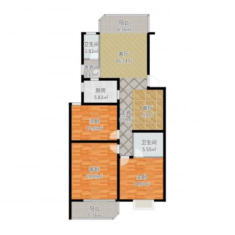 鑫湘佳园3室1厅2卫1厨152.00㎡户型图