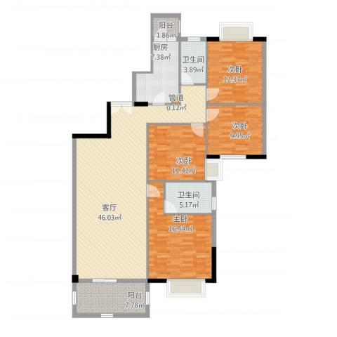 富力院士庭4室1厅2卫1厨169.00㎡户型图