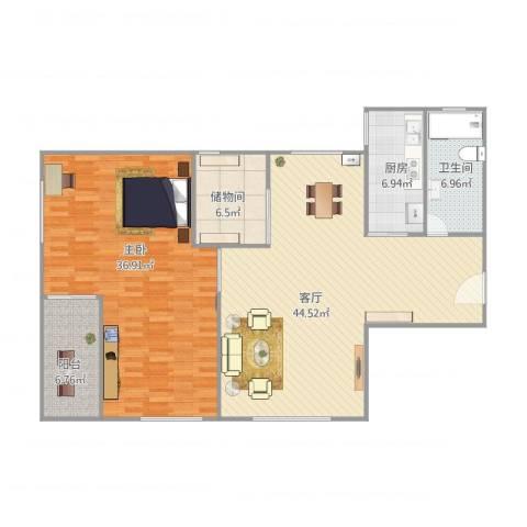 鸿业大厦23G1室1厅1卫1厨144.00㎡户型图