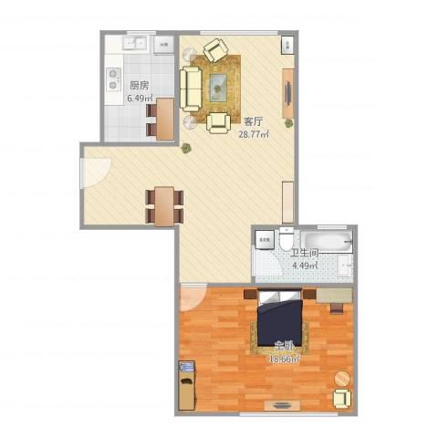 汤巷馨村1室1厅1卫1厨78.00㎡户型图
