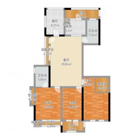 城泰湖韵天成3室2厅8卫1厨166.00㎡户型图