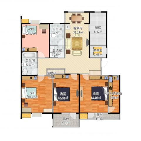 湖畔佳苑4室2厅2卫1厨181.00㎡户型图