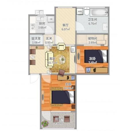林科大单位房2室3厅1卫1厨75.00㎡户型图