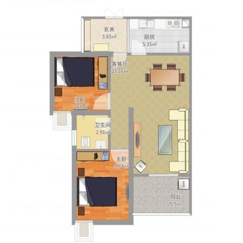 三江希望城2室1厅1卫1厨82.00㎡户型图