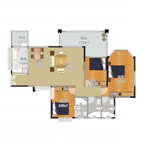 恒利・阳光新城3室1厅3卫1厨143.00㎡户型图