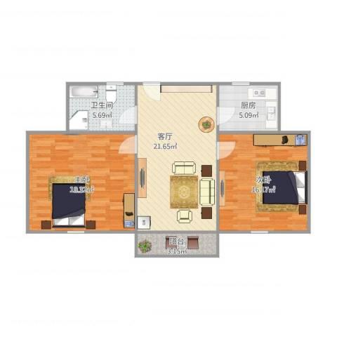 荷一小区2室1厅1卫1厨95.00㎡户型图