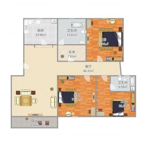 锦河苑3室1厅2卫1厨253.00㎡户型图