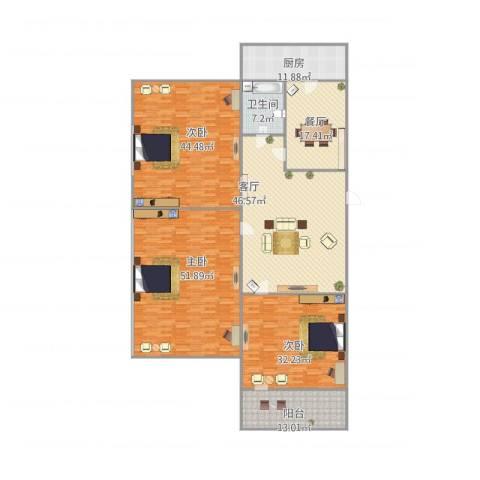 明湖小区3室2厅1卫1厨294.00㎡户型图
