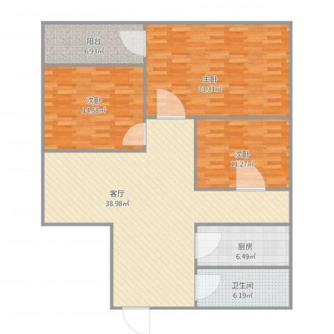 鸿业大厦3室1厅1卫1厨144.00㎡户型图
