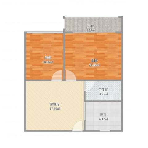 凤起都市花园2室1厅1卫1厨80.00㎡户型图