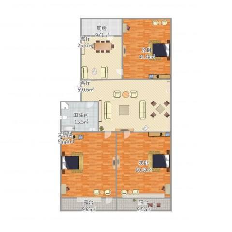 明湖小区3室2厅1卫1厨355.00㎡户型图