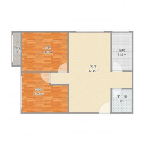 青塔秀园2室1厅1卫1厨98.00㎡户型图