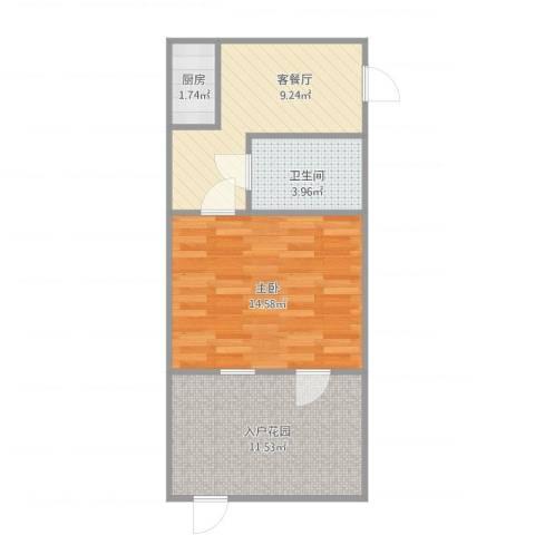 苏安新村1室1厅1卫1厨56.00㎡户型图