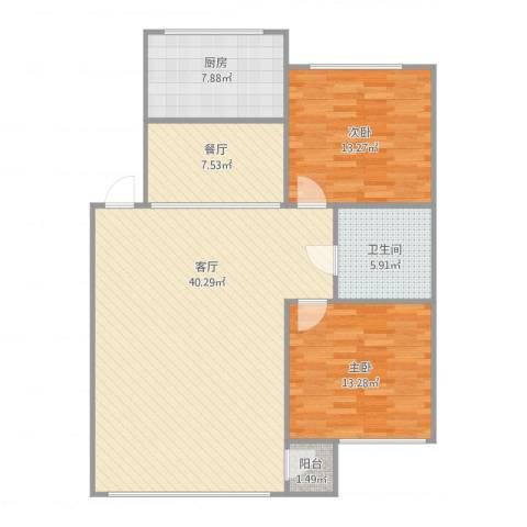 绿波花园39-4-3012室2厅1卫1厨119.00㎡户型图