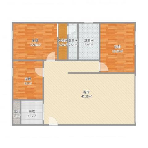 翠拥豪庭3室1厅2卫1厨127.00㎡户型图
