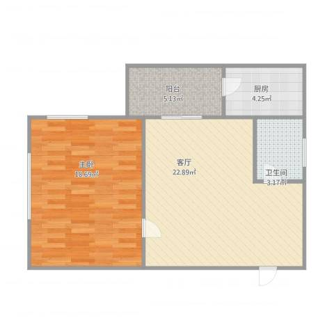 棠德花园1室1厅1卫1厨72.00㎡户型图