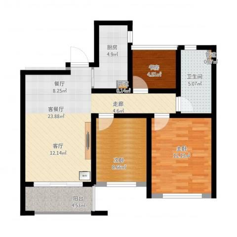 首创・悦都3室1厅1卫1厨94.00㎡户型图
