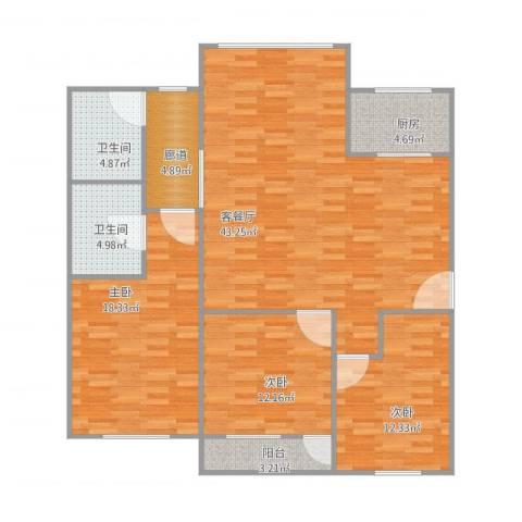 松苑新村3室1厅2卫1厨145.00㎡户型图