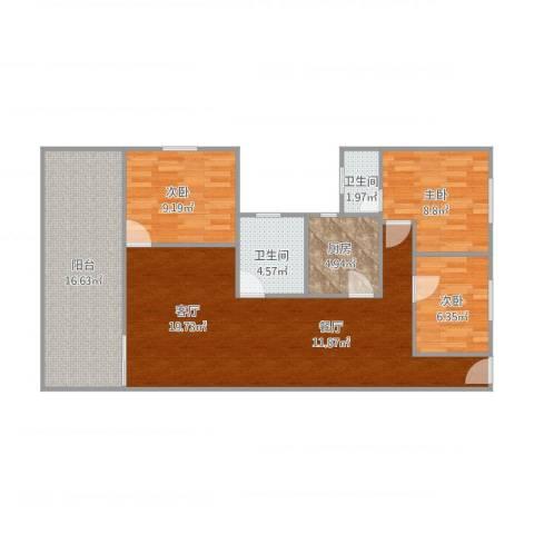 碧桂园红棉路3室1厅2卫1厨115.00㎡户型图