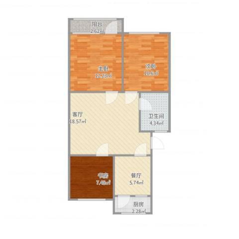 兴济河小区3室2厅1卫1厨87.00㎡户型图