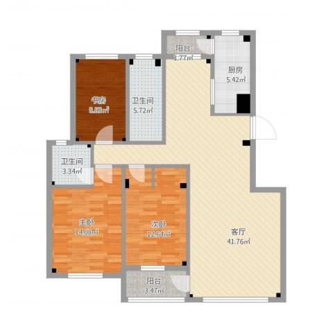 海创半山壹号3室1厅2卫1厨139.00㎡户型图
