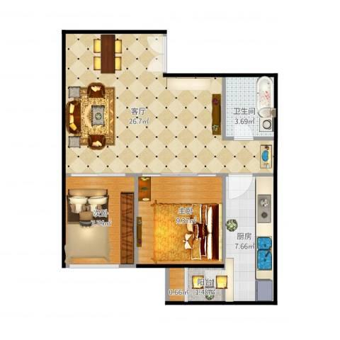 东恒时代三期2室1厅1卫1厨62.00㎡户型图