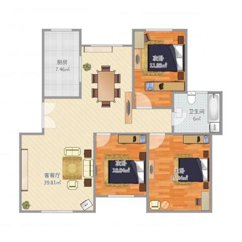 淮北温哥华城金水河畔74#601室3室1厅1卫1厨121.00㎡户型图