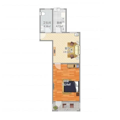 清涧八街坊1室1厅1卫1厨59.00㎡户型图