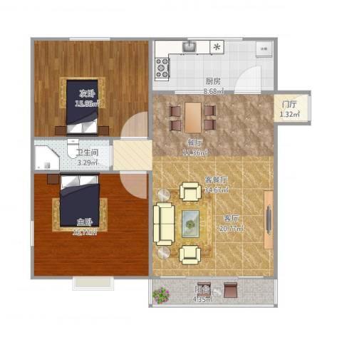 鹏欣家园89平2室1厅1卫1厨111.00㎡户型图