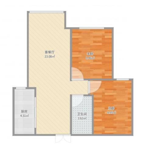 长阳康泽家苑2室1厅1卫1厨68.00㎡户型图