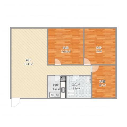 明珠广场3室1厅1卫1厨100.00㎡户型图