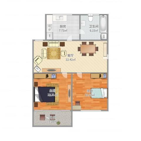 罗山七村2室1厅1卫1厨90.00㎡户型图