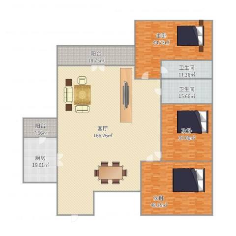 锦城花园3室1厅2卫1厨478.00㎡户型图