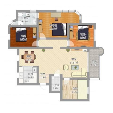 湖滨公寓3室1厅3卫1厨127.00㎡户型图