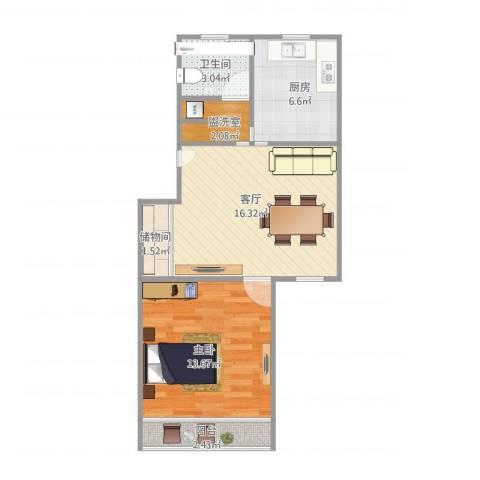 张杨南苑1室1厅1卫1厨62.00㎡户型图