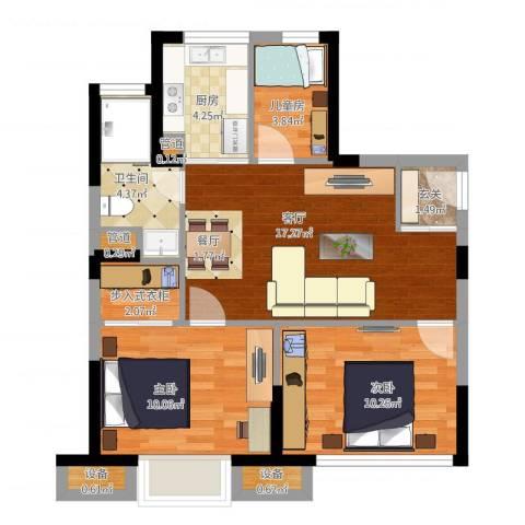 经纬城市绿洲三期3室1厅1卫1厨80.00㎡户型图