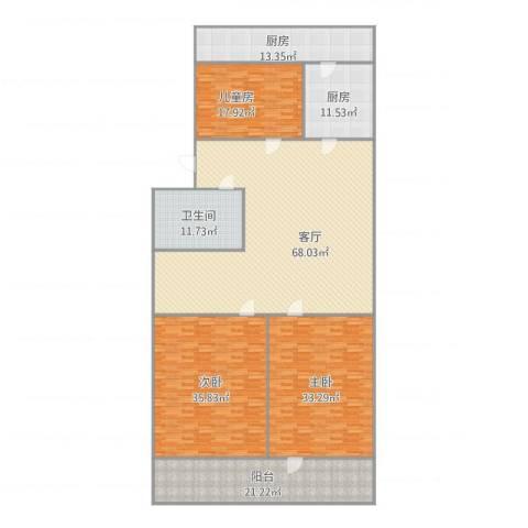 玉函路单位宿舍3室1厅1卫2厨280.00㎡户型图