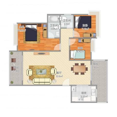 大隆湾9栋02户型3室1厅2卫1厨117.00㎡户型图