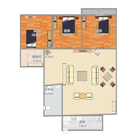 太平洋小区3室1厅1卫1厨152.00㎡户型图