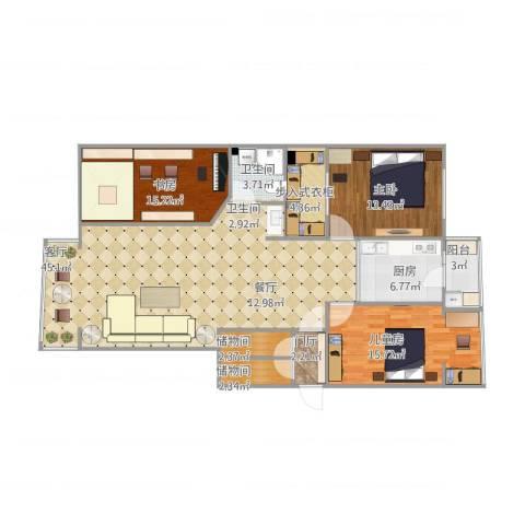 海富名都城3室1厅1卫1厨153.00㎡户型图