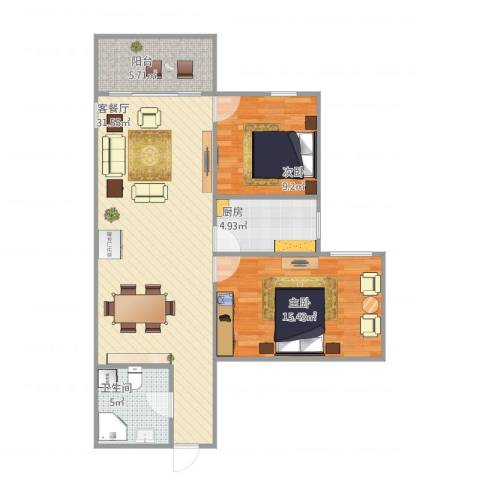 北苑家园绣菊园2室1厅1卫1厨96.00㎡户型图
