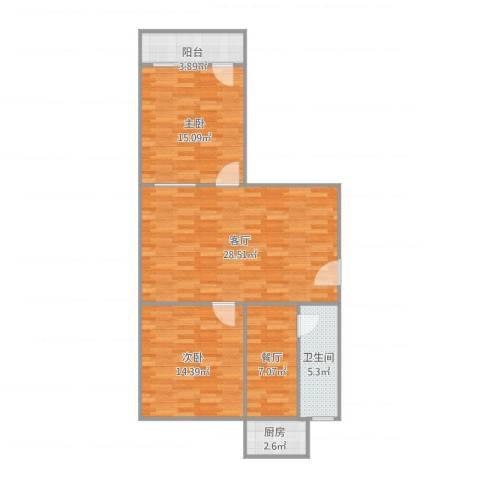 工业北路客车厂宿舍2室2厅1卫1厨103.00㎡户型图