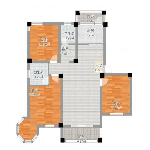 维多利亚花园3室1厅2卫1厨137.00㎡户型图