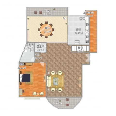 家化滨江苑3-18021室2厅2卫1厨220.00㎡户型图