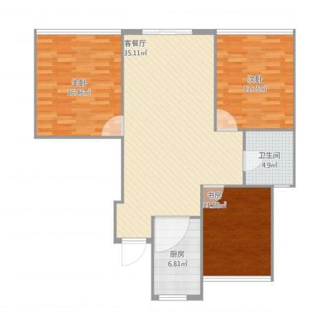 格兰春晨二期加州里3室1厅1卫1厨118.00㎡户型图