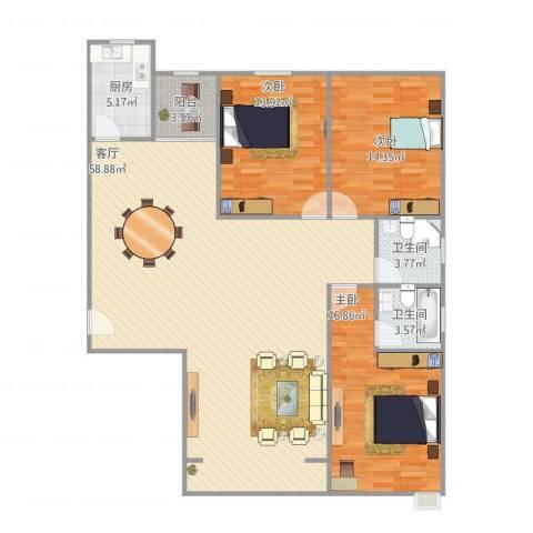 安业公寓3室1厅2卫1厨159.00㎡户型图