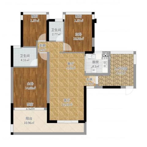 碧水龙庭二期3室2厅3卫1厨103.89㎡户型图